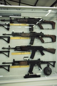Top to bottom: GAL assault rifle in 7.62x51, GAL in 5.56x45, Balashnikov (Galil prototype), Galil ARM
